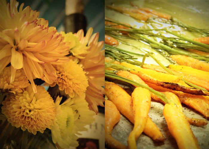 autumn mums and roasted carrots