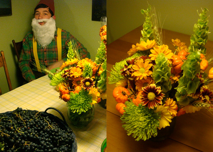 garden gnome and fall flowers