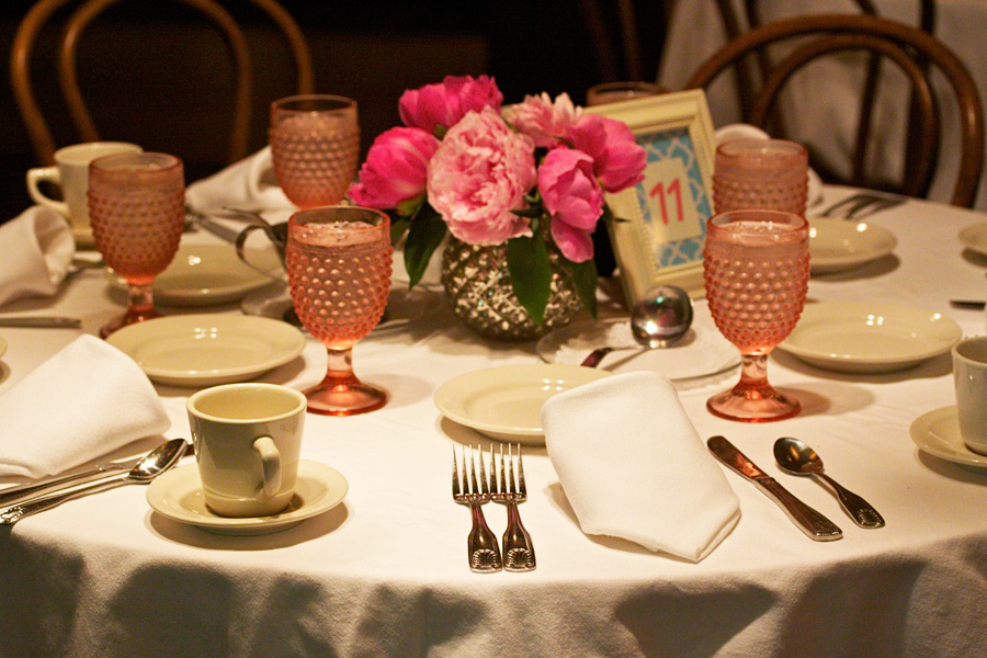 peonies and pink hobnail goblets / photo by Mark Rawlings